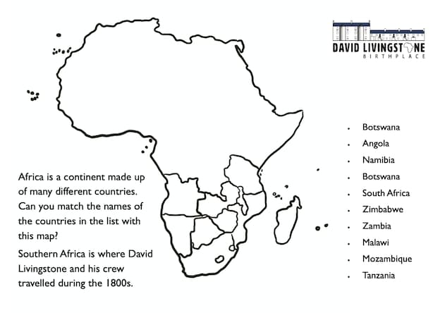 Map Of Southern Africa Activity Worksheet
